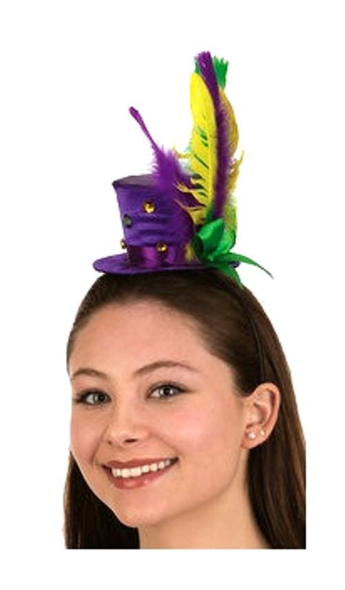 Mardi Gras Mini Top Hat Headband Feathers Ribbons Festival Costume  Accessory - www.dazzlingcostumes.com a710aad8d11