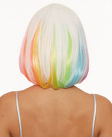 Dreamgirl Hidden Rainbow Mid-Length Bob Costume Wig Women's White Unicorn Fairy