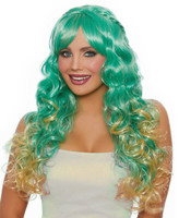 Dreamgirl Long Wavy Ombre Sea Green Costume Wig Women's Mermaid Fairy Cosplay