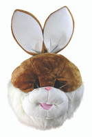 Bunny Rabbit Mascot Head Brown & White Big Head Easter Adult Costume Accessory