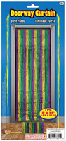 "Metallic Foil Mardi Gras Doorway Tinsel Curtain Backdrop 1pc. 8ftx37"" Decoration"