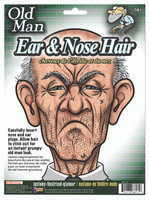 Theatrical Disguises Cranky Old Man Nose & Ear Hair Plugs Kit Costume Accessory