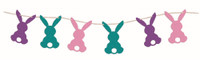 7ft. Diamond Glitter Bunny Banner Strand Pastel Rabbits Easter Decoration