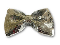 Silver Sequin Shiny Sparkly Bow Tie Neckwear Costume Accessory Foam Lined