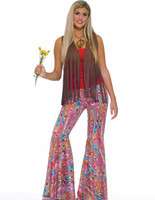 Bell Bottom Pants Swirls Retro 70's Hippie Women's Flare Pink Costume Accessory