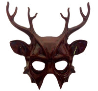 Red Deer Half Mask & Antlers Adult Christmas Animal Venetian Costume Accessory