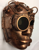 Metallic Copper Steampunk Robot Face Mask Adult Masquerade Costume Accessory