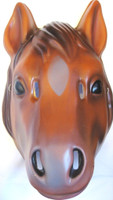 Horse Plastic Half Mask Animal Halloween Brown Costume Accessory Pvc Adult Child