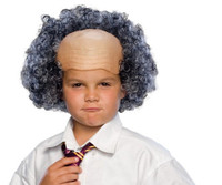 Funny Bald Man Wig Mad Scientist Curly Hair Sides Children's Costume Accessory
