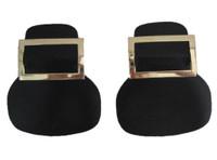 Black Vinyl Gold Metal Shoe Buckle Pilgrim Colonial Costume Footwear Accessory