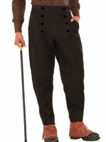 Men's Black Steampunk Pants Medieval Button Design Costume Accessory Std