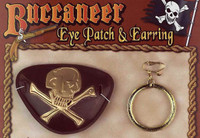 Buccaneer Eye Patch & Gold Earring Pirate Costume Accessory Cross Bones Skull