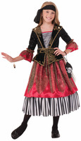 Deluxe Caribbean Crimson Pirate Princess Girls Kids Halloween Costume SM-LG