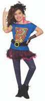 Totally 80s To The Maxx Retro Girls Kids Costume Pop Star Valley Girl Tutu SM-LG