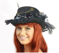 Deluxe Black Steampunk Costume Top Hat Victorian Adult Feathers Chains Mini Jar