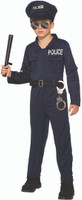 Police Officer Uniform Hat & Jumpsuit Kids Costume Law Enforcement Careers SM-LG