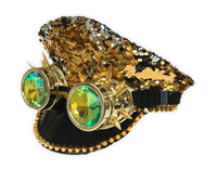 Reversible Mermaid Sequins Fashion Costume Hat Biker Taxi Goggles Adult GD /SLV