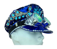 Reversible Mermaid Sequins Fashion Costume Hat Biker Taxi Goggles Adult BLU /SLV