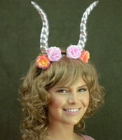 Mystical Creature Gold Horns on a Headband with Flowers Animal Fairy Antlers