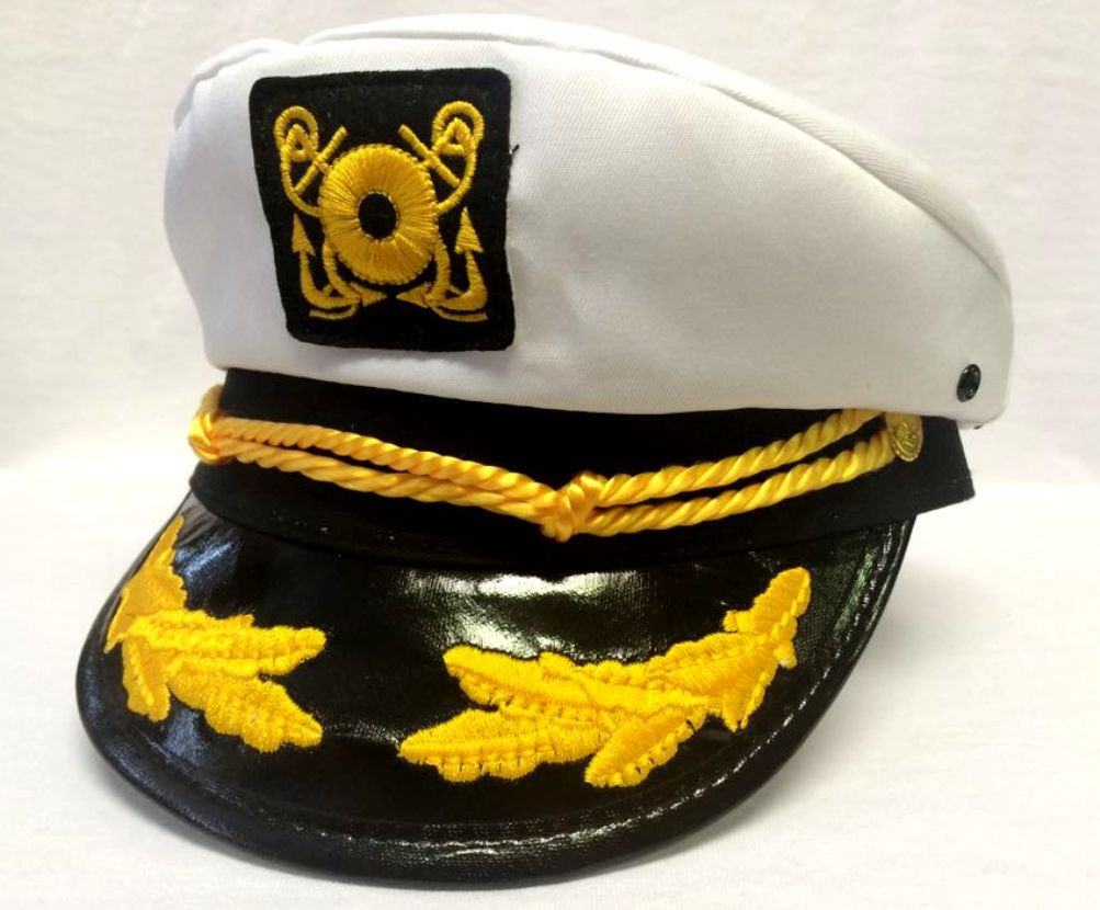 d0e021555 Deluxe White Yacht Cap Captain Hat Costume Accessory Adult Sailor Navy  Pilot New