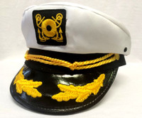 Deluxe White Yacht Cap Captain Hat Costume Accessory Adult Sailor Navy Pilot New