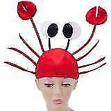 Red Crab Hat Sea Lobster Fish Gag Gift Costume Accessory Child & Adult Men Women