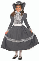 Prairie Girl Child Costume Grey Dress & Bonnet Little House On The Prairie SM-LG