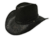 Black Cowboy Hat Adult Mens Faux Suede Animal Print Western Costume Accessory