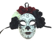 Day Of The Dead Sugar Skull Face Mask Halloween Skeleton Women Bride Flowers