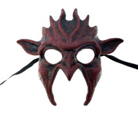 Bloody Red Goblin Devil Half Mask Adult Dark Gothic Halloween Costume Accessory