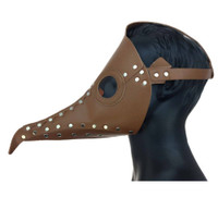 Brown Steampunk Mask PU Leather Silver Rivet Di Venezia Plague Curved Beak Nose