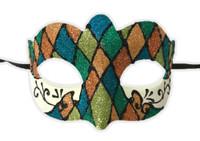 Argyle Glitter Half Mask Mardi Gras Masquerade Costume Accessory Harlequin F