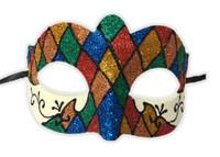 Argyle Glitter Half Mask Mardi Gras Masquerade Costume Accessory Harlequin E