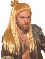 Viking Warrior Wig Long Blonde Norseman Adult Men's Costume Accessory