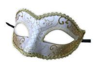Glittery Half Mask Venetian Masquerade Swirls Costume Accessory Gold N' White A