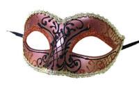 Glittery Half Mask Venetian Masquerade Swirls Costume Accessory Gold Copper B