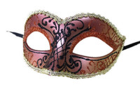 Glittery Half Mask Venetian Masquerade Swirls Costume Accessory Gold Copper B