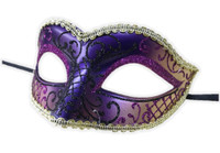 Glittery Half Mask Venetian Masquerade Swirls Costume Accessory Gold Purple C