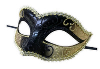 Glittery Half Mask Venetian Masquerade Swirls Costume Accessory Gold Black D