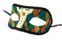 Argyle Glitter Half Mask Venetian Masquerade Costume Accessory Harlequin F