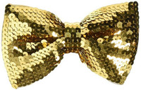 Gold Sequin Shiny Sparkly Bow Tie Neckwear Costume Accessory Foam Lined