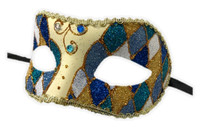 Argyle Glitter Half Mask Venetian Masquerade Costume Accessory Harlequin B
