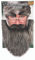 Old Man Eyebrows Moustache & Beard Self Adhesive Facial Hair Kit Adult Disguise