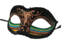 Glittery Rainbow Half Eye Mask Masquerade Pride Parade Costume Accessory C