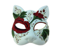 DOD Cat Costume Half Mask Animal Red Embroidered Flowers Adult Masquerade