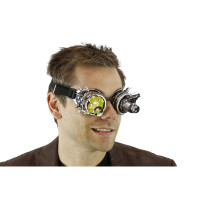 Silver Spiked Mad Scientist Goggles magnifier 12/72 Steampunk Mens LIGHT-UP