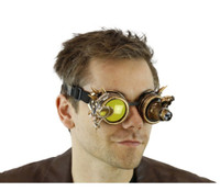 Gold Spiked Mad Scientist Goggles magnifier 12/72 Steampunk Mens LIGHT-UP