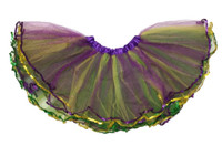 Mardi Gras Glitter Tutu Skirt Womens Girls Green Purple Yellow Petticoat M