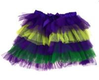 Mardi Gras Tutu Layered Skirt Womens Girls Green Purple Yellow Costume Acces. M