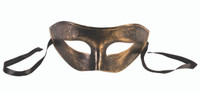 Brushed Antique Gold Venetian Half Eye Mask Harlequin Fancy Costume Accessory